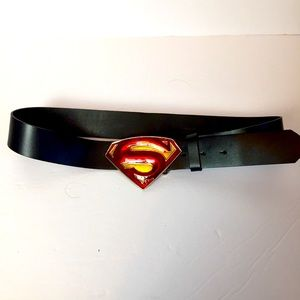 Supper Girl/Man Buckle and black leather belt